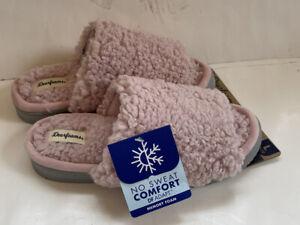 Dearfoams Kristy Faux Sherpa Slides No Sweat 9/10 XL New Pink Mauve