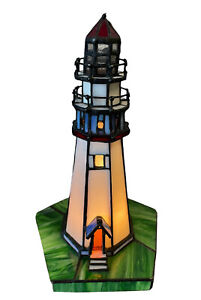 """Leaded Stained Glass Lighthouse Nautical Accent Table Lamp Night Light Beach 10"""""""