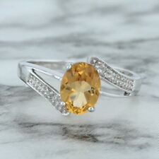 1.20ct Citrine Bypass Ring - Sterling Silver Size 6 Diamond Accents November