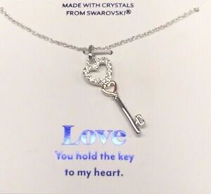 "Brilliance ""Love"" Necklace, Two-Toned Hearts & Key with Swarovski Crystals, New"