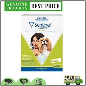 SENTINEL Spectrum Heartworm Flea Treatment 6 Doses for Dogs 4 to 11 Kg GREEN