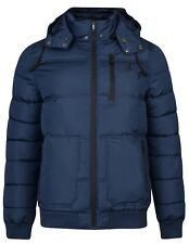 Kangol Mens Casual Quilted Zip up Puffer Hooded Jacket Solid Cuffed Branded Coat L Blue