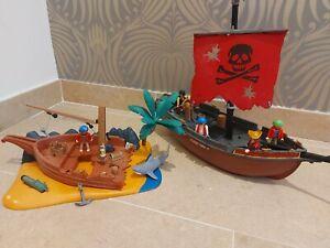 Playmobil Bundle 3174 Pirate Ship & 6481 Shipwreck On Island Set.