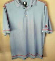 FootJoy FJ Men's Athletic Golf Polo Shirt Blue White Striped Short Sleeve Large.