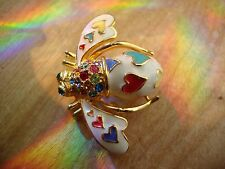 Joan RiversWhite  Enameal Bee With Colored Heart And  Colored Rrhineston Brooch