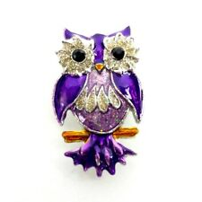 Owl Magnet 3D Refrigerator Decoration Enamel Painted Metal Purple