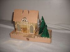 Putz Cardboard Glitter Church Scene Hole In Back For A Light Colmor Made In Usa