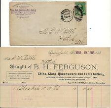 1888 B H Ferguson China Glass Co. Cover & Invoice to Hettick Illinois Adv Cover