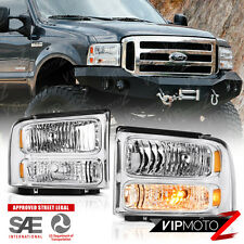 2005-2007 Ford F250 F350 F450 SuperDuty SD Chrome Front Headlights Assembly Pair