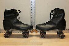 Vintage Roller Derby Skates Men's Black Leather 642 Gold Urethane Wheels Size 11