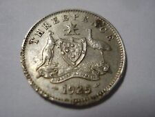Australian 1925 KGV Threepence Sterling Silver Coin Almost 8 Pearls #AZ3