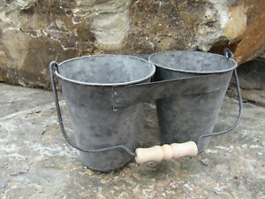 New Industrial Galvanized Metal Divided Double Bucket Planter Caddy Pot Tote