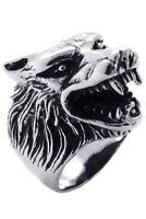 anillo de joyeria para hombre y motorista, acero inoxidable, cabeza de Lobo N1H7