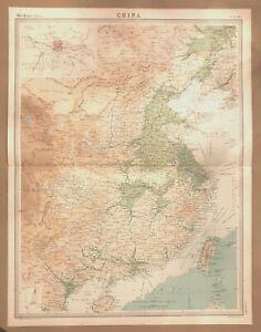 China Peking Times Atlas Map 1922 Bartholomew Plate 63
