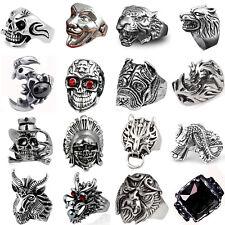 Men's Stainless Steel Big Skull Rings, Metal Gothic Biker Punk Ring Best