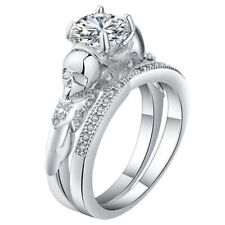 2.50 Ct White Round Cut CZ Two Skull BIG FUNKY Engagement Ring Set In 925 Silver