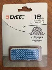 Emtec Flash Drive Wallpaper 16 GB Storage Blue White Design USB 2.0 FREE SHIPPIN