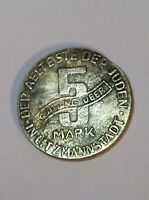 1943 JUDE JEWISH GETTO COIN 5 Mark QUITTUNG UBER LITZMANNSTADT Poland Varsovie