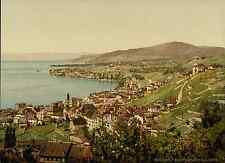 Lac Léman. Montreux et Clarens.   PZ vintage photochromie, photochrom photochr