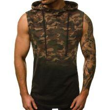 Herrenmode Kapuze Pullover Bodybuilding T-Shirt Fitnessstudio Tarnung Muskel B
