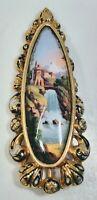Antique 19th Century Swiss Enamel Landscape Scene on 14K Gold Oval Pin Brooch