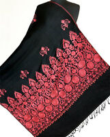 Large, Embroidered, Black, Wool Shawl with Burgundy, Kashmir, Crewel Embroidery