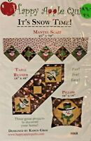 It's Snow Time Christmas Snowman Pattern Mantel Scarf Table Runner Pillow # 68