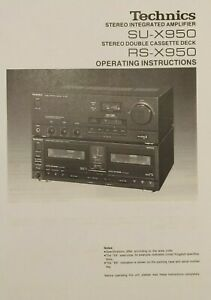 Technics SU-X950 - RS-X950 - Mini System - Operating Instructions - USER MANUAL