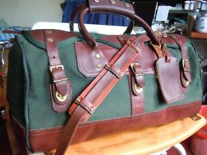 "Vintage GOKEYS ORVIS Canvas & Leather Hunting/Travel Duffle Bag Battenkill  20"""