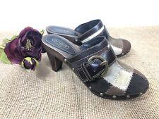 Coach Women's Shoes Clogs Size 8.5 Brown Gold Leather Sebrina Patchwork