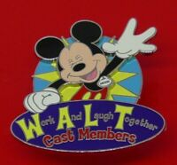 Used Disney Enamel Pin Badge Cast Exclusive 2009 Work & Laugh Together Mickey