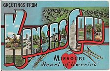 "Greetings From Kansas City MO ""Heart of America"" Large Letter Linen Postcard"
