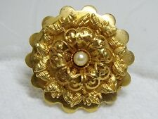 Single Scalloped Layered Gold Tone Faux Pearl Riveted Dress / Fur / Shoe Clip