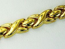 Hug and Kisses styled 14k yellow gold filled high polished 7.25 inch bracelet