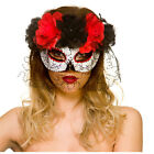 Day Of The Dead Eyemask With Veil Ladies Halloween Fancy Dress Mask