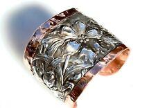 Sterling Silver Copper Cuff Bracelet Antique Art Nouveau Floral Unger Brothers