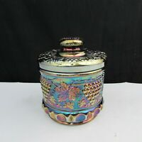 Fenton Amethyst Carnival Presznick's Museum Grape and Cable Tobacco Jar A16