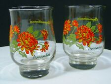 Vintage Brockway Chrysanthemum Flower Of November Set Of 2 Glasses