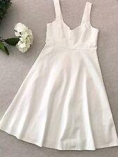 Lulus White Empire Waist Stretchy Flared Dress Medium Wedding Pinup Rockabilly