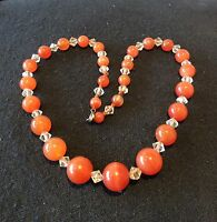 Vintage 1950s carnelian glass and aurora borealis crystal glass bead necklace
