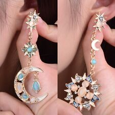 Women Sun And Moon Stars Rhinestone Crystal Stud Dangle Earrings Fashion Jewelry