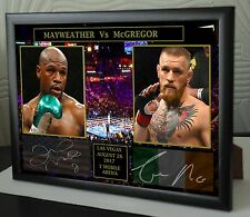 Floyd Mayweather Conor McGregor A4 Boxing Vs UFC canvas tribute signed