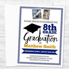 8 Graduation Class of 2018 Promotion 8th Grade or High School Photo Invitations
