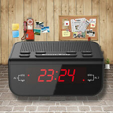 Black Digital FM Alarm Clock Radio with Dual Alarm Snooze Sleep Time Function-bh