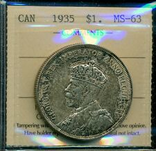 1935 Canada, King George V, Silver Dollar, ICCS MS-63