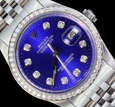 Rolex Mens Datejust Date Steel Oyster Diamond Dial Luxury Watch