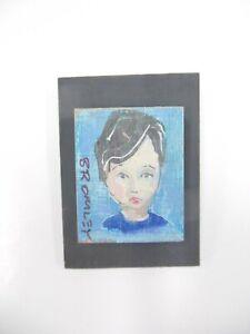David Bromley Original Painting RARE OPPORTUNITY - MINIATURE BOY 4.5x3.5cm
