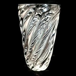 "Cartier Crystal Oval Vase, Swirl, Twist, 11"" Tall"