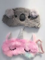 1X Women Girl Fluffy Unicorn Travel flight Sleeping Eye Mask Cover Eyeshade