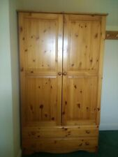 Double solid pine wardrobe with drawers